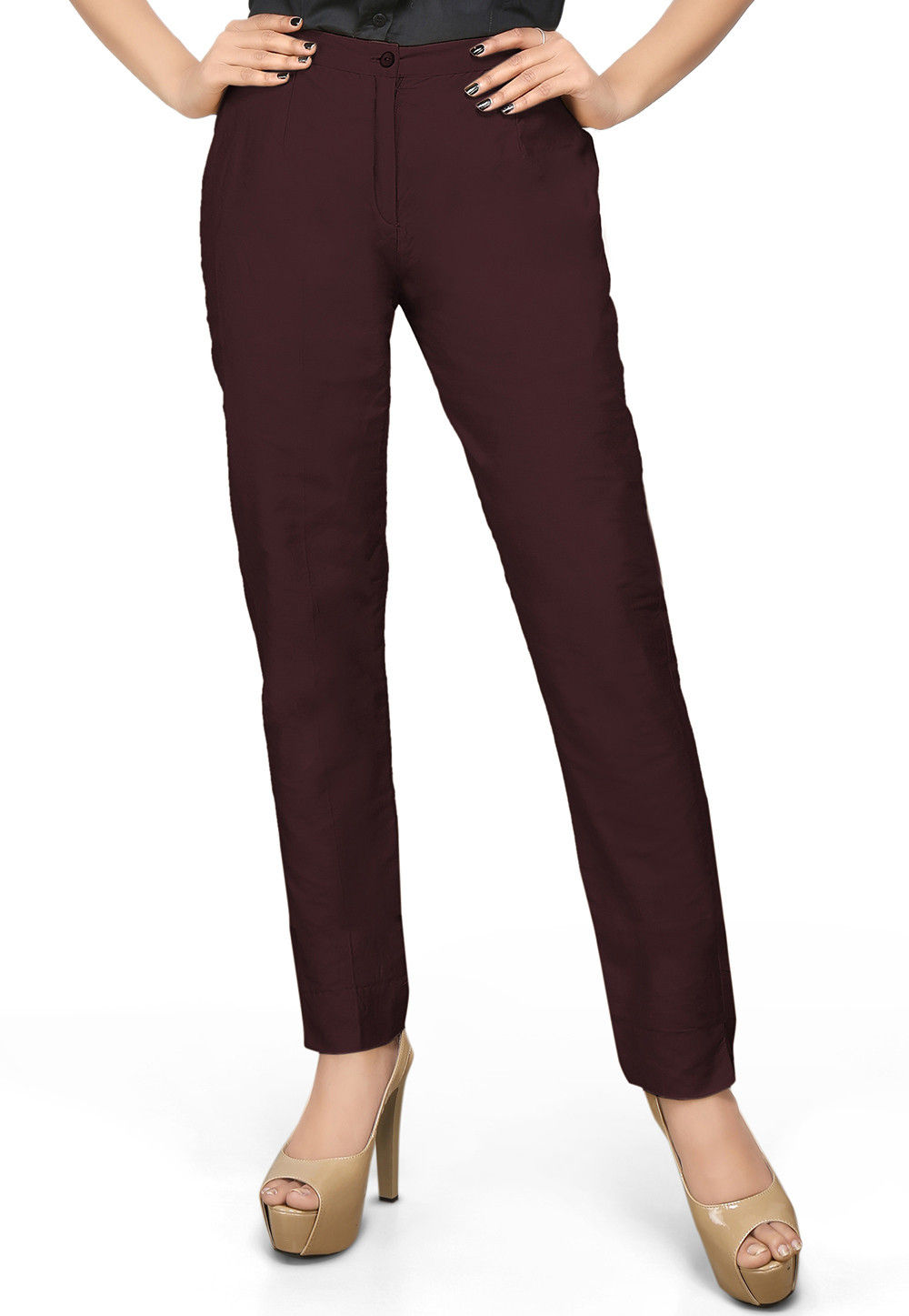 Cotton Silk Straight Pant in Wine