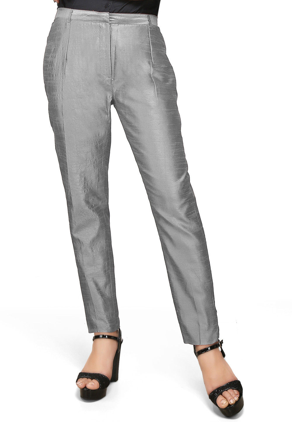 Art Silk Straight Pant in Grey
