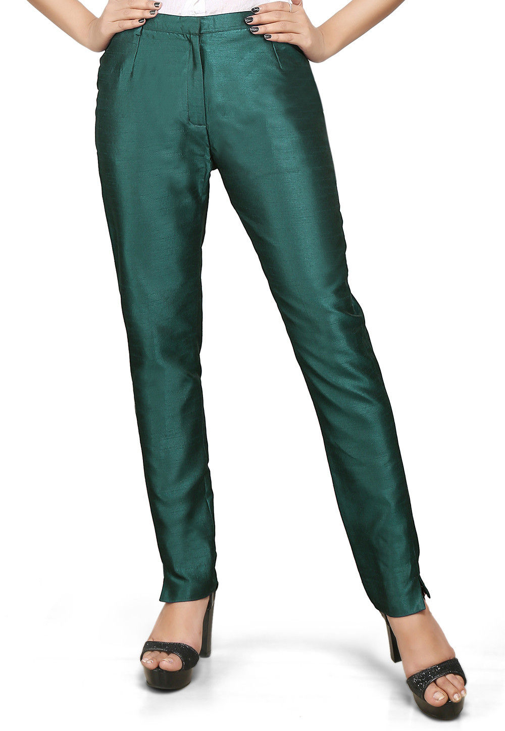Art Silk Straight Pant in Teal Blue