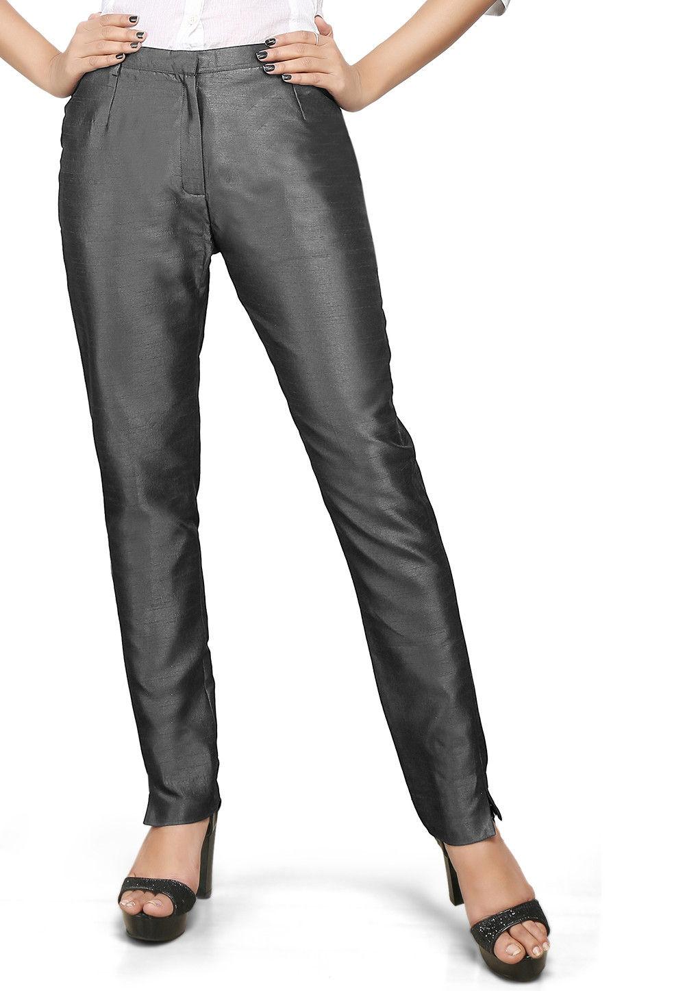 Art Silk Straight Pant in dark Grey