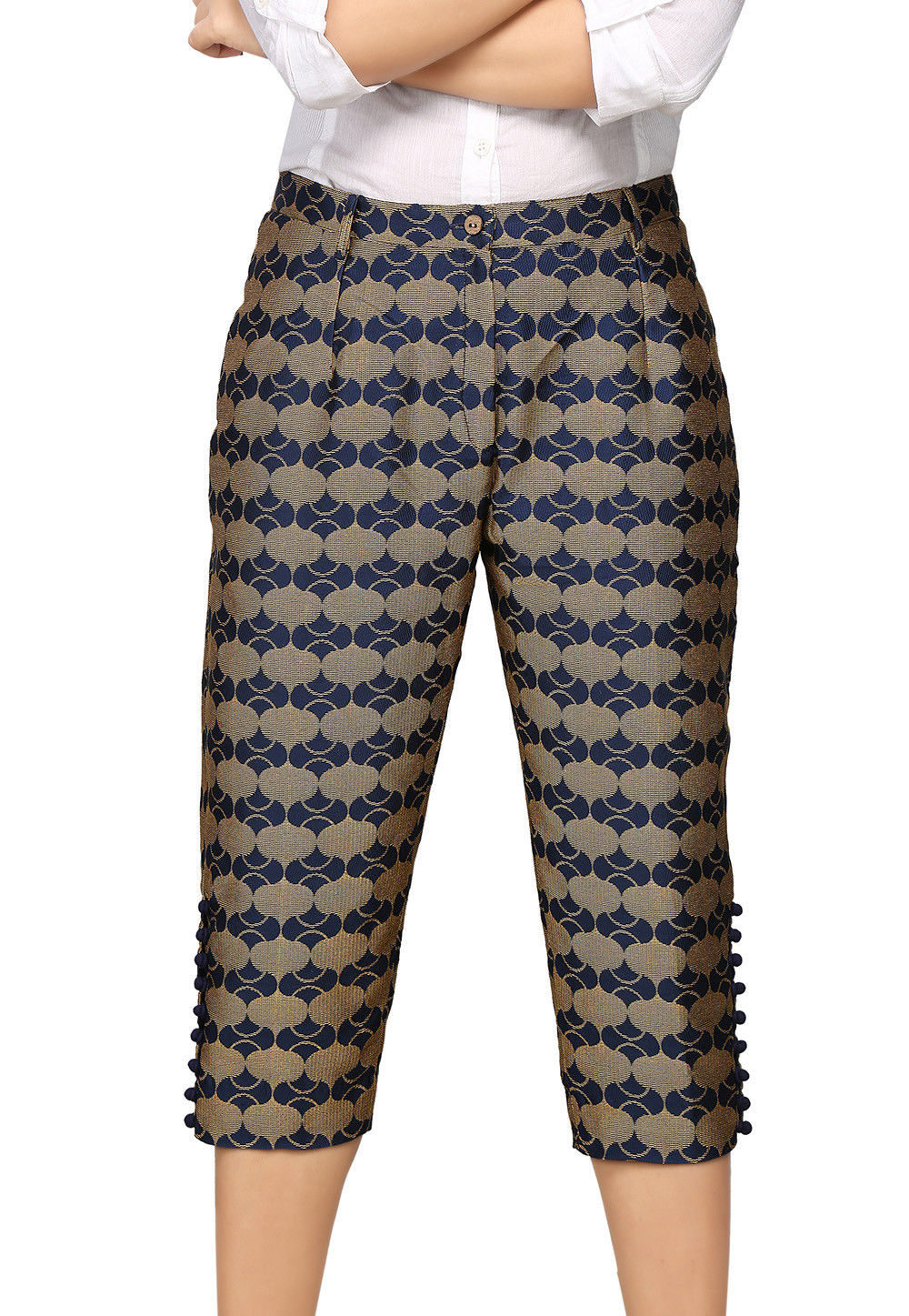 Brocade Capri in Blue and Beige