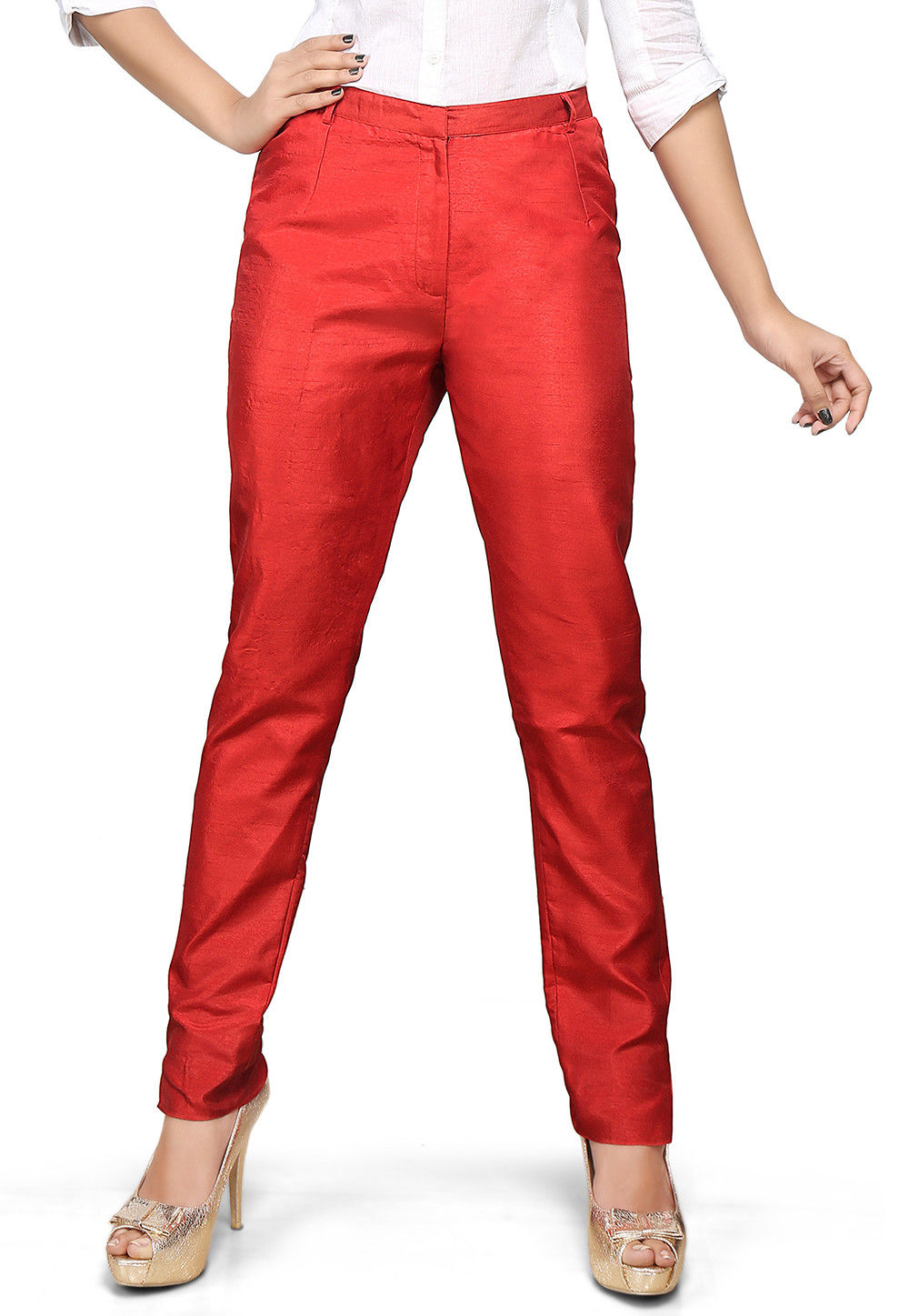 Art Dupion Silk Straight Pant in Red