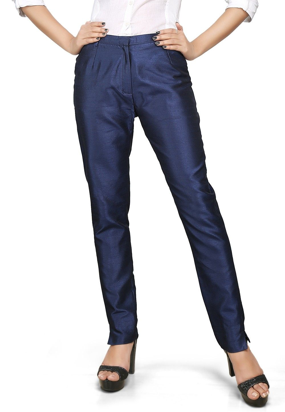 Art Dupion Silk Straight Pant in Navy Blue