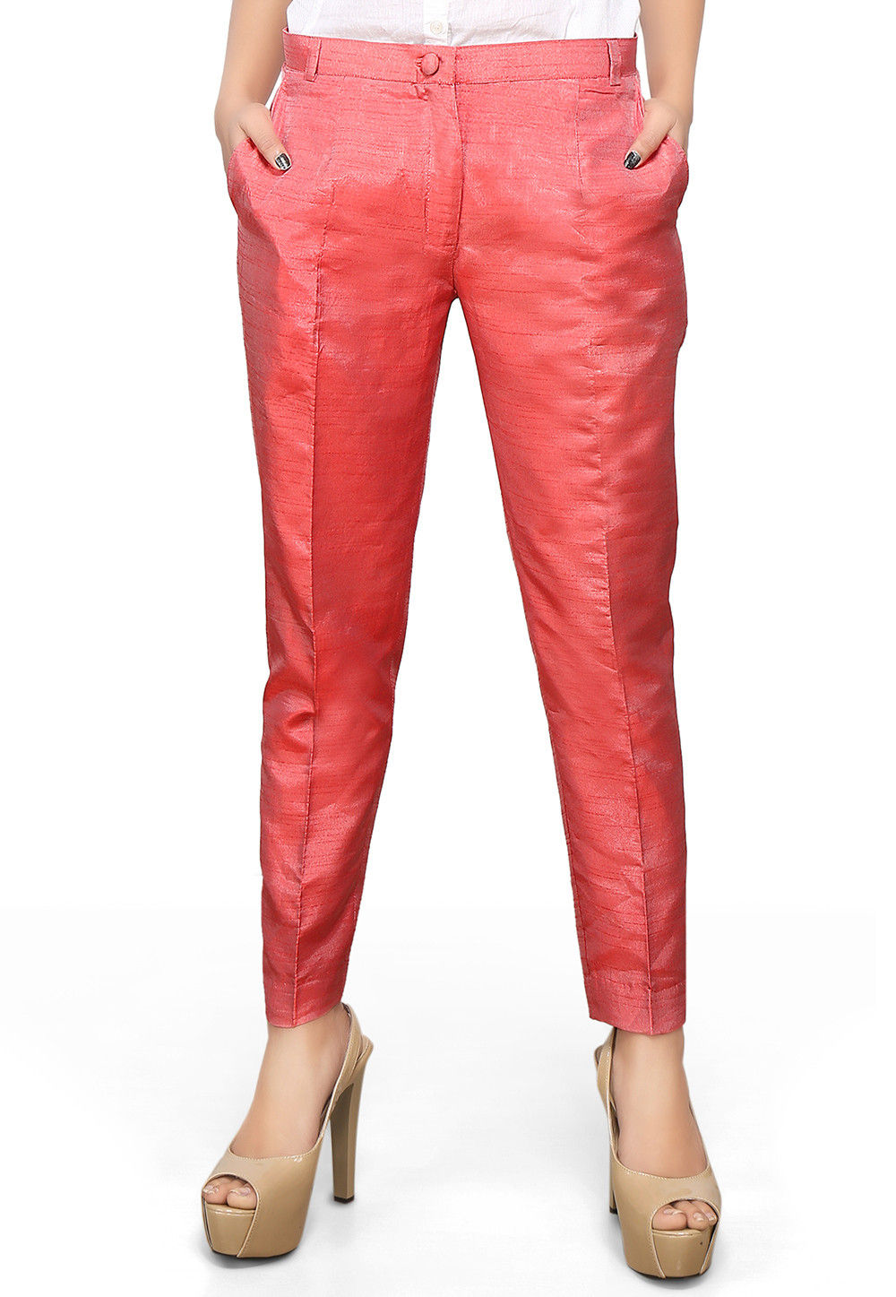 Art Dupion Silk Straight Pant in Coral