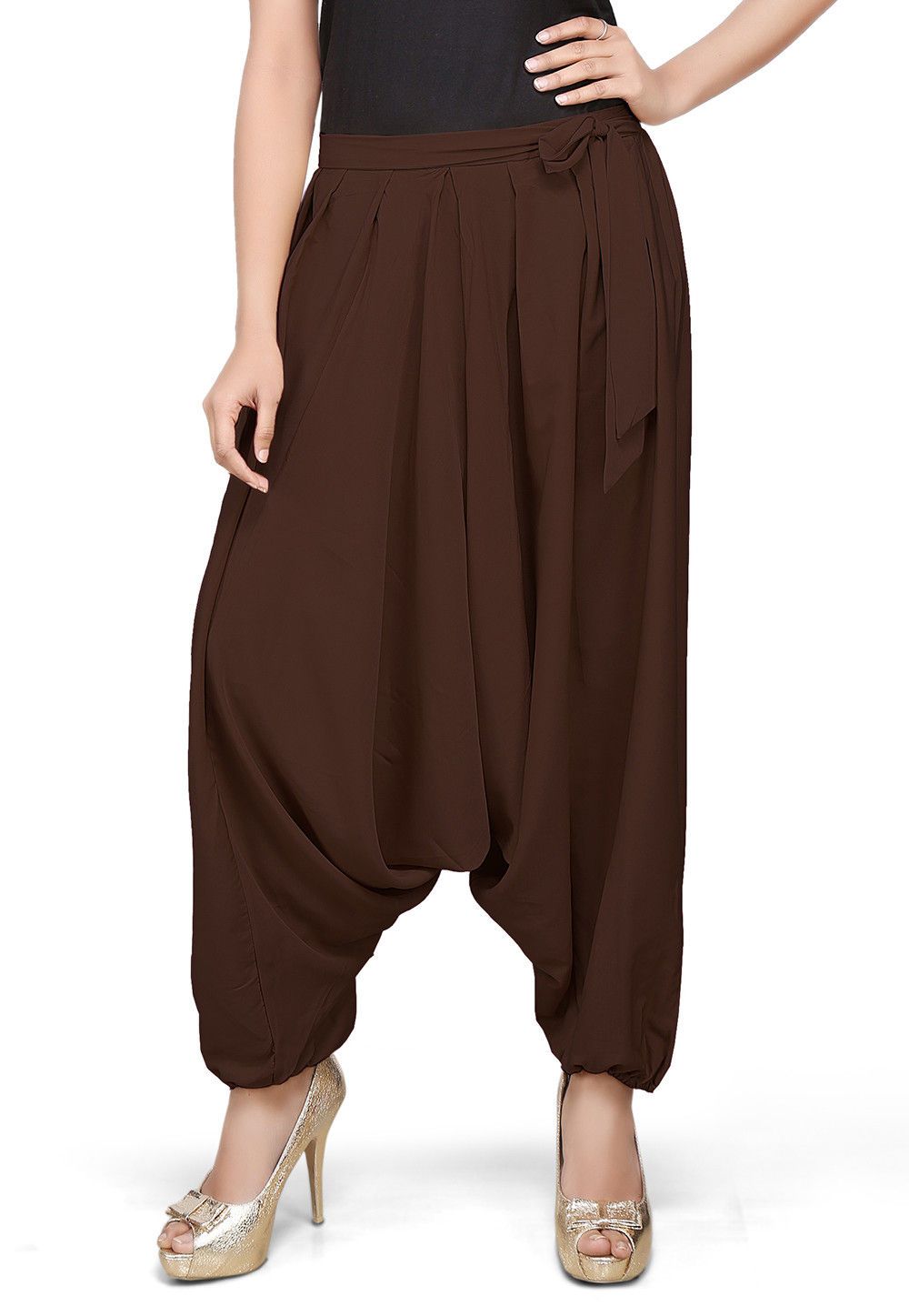 Solid Crepe Zouave Pant in Dark Brown