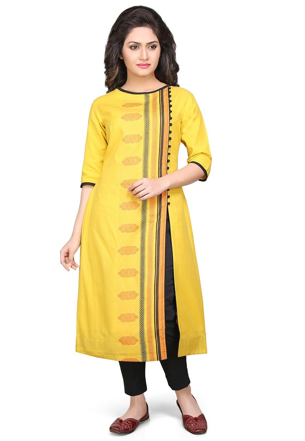 Cotton Jacquard Long Kurta in Yellow