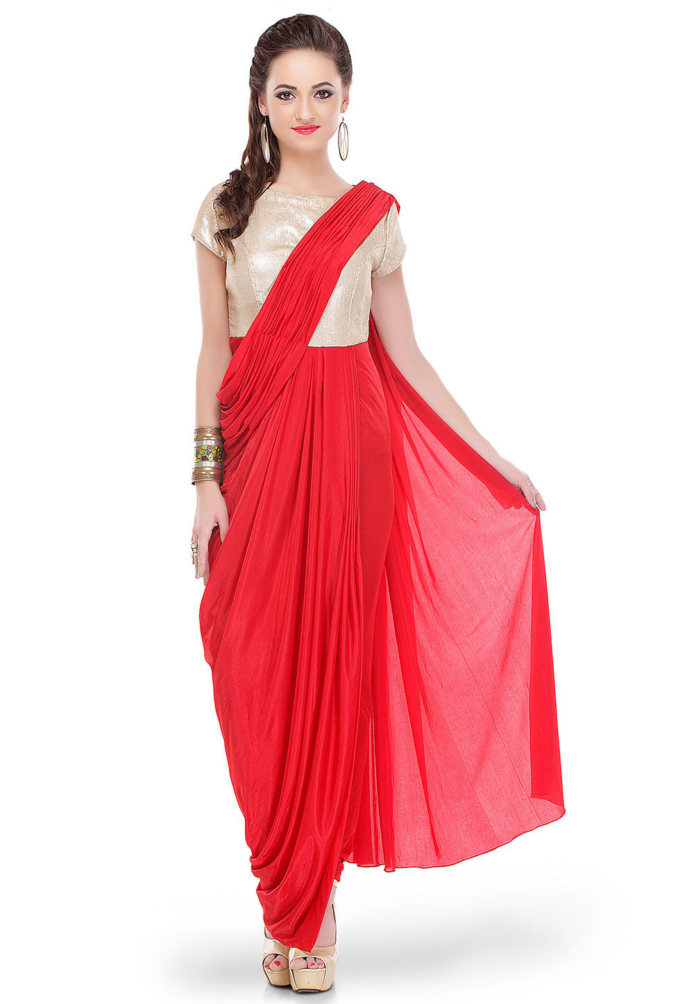 Sequins Embroidered Lycra Draping Dress in Red and Golden