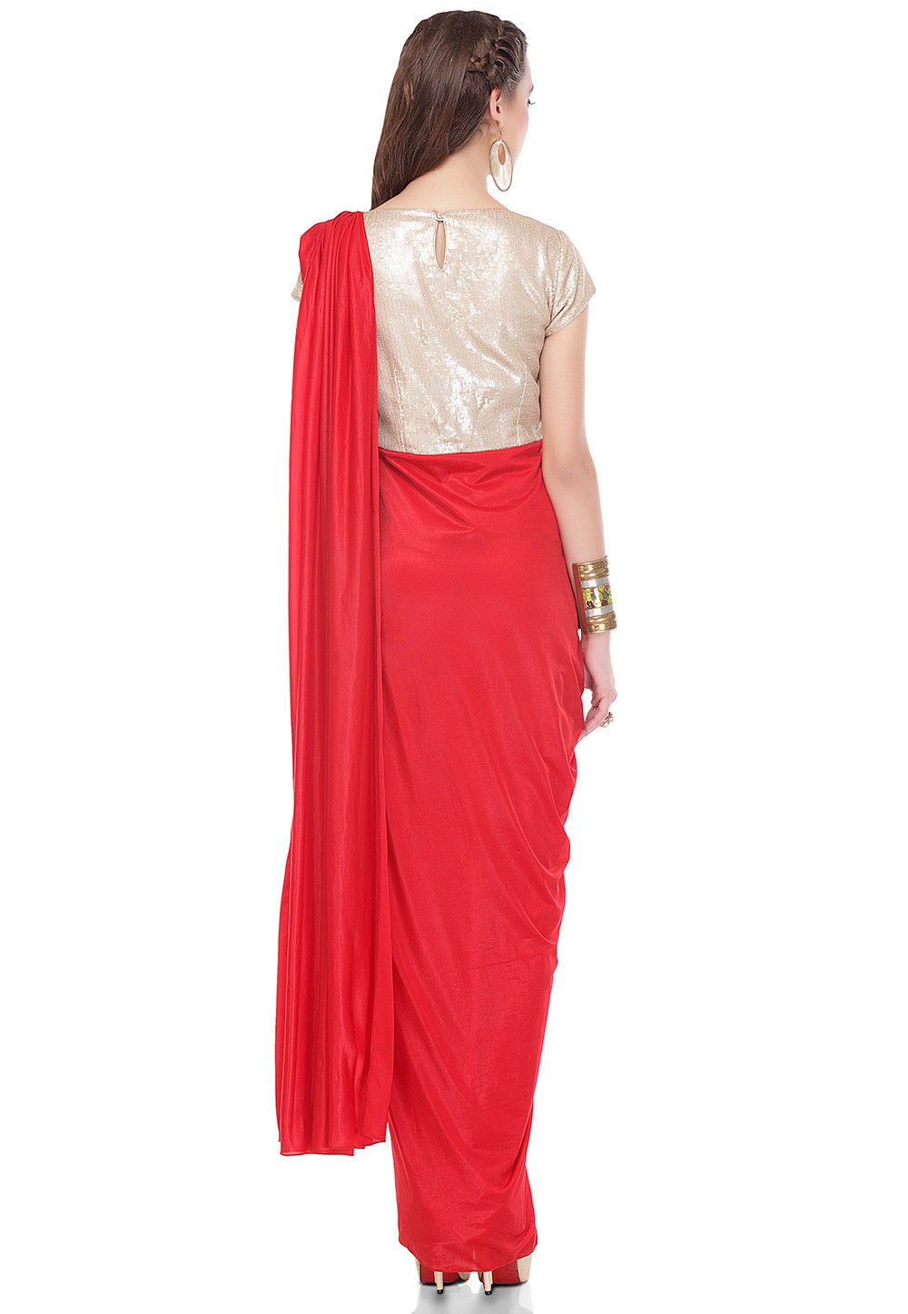 36070d496baaf Sequins Embroidered Lycra Draping Dress in Red and Golden. Zoom. View  Similar
