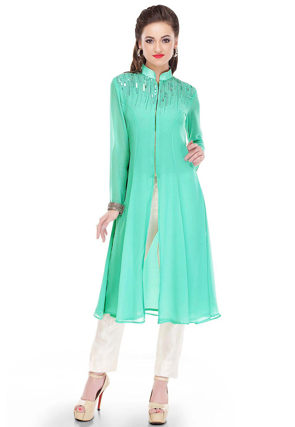 Embroidered Georgette Long Kurta in Pastel Blue