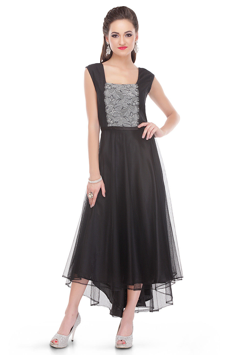 Embroidered Net Dress in Black