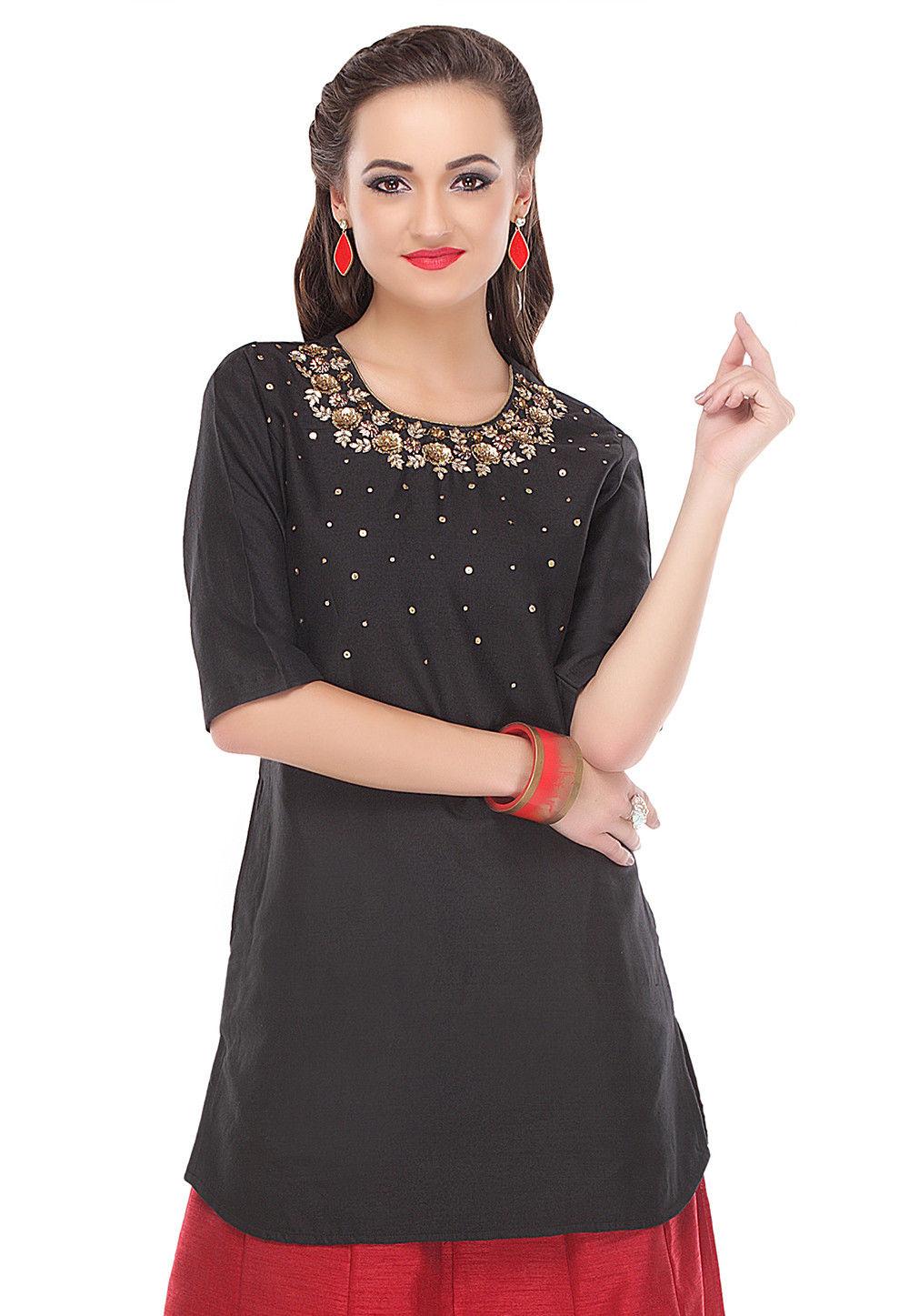 Hand Embroidered Cotton Silk Kurti in Black