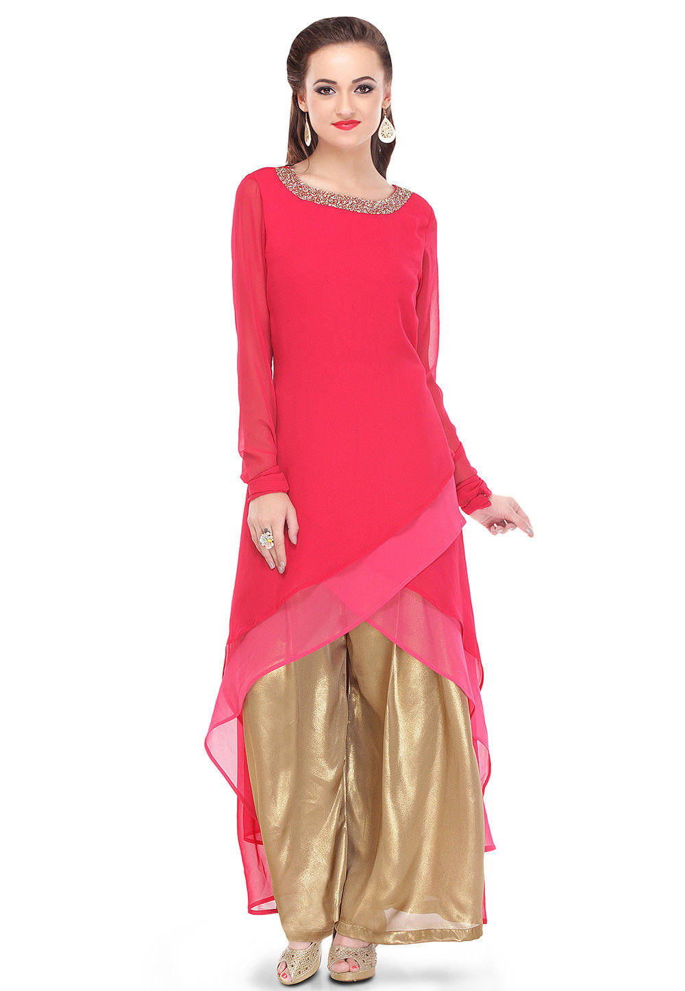 Plain Georgette Asymmetric Kurta in Fuchsia