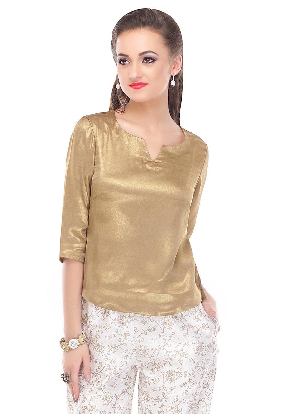 Plain Shimmer Georgette Top in Golden