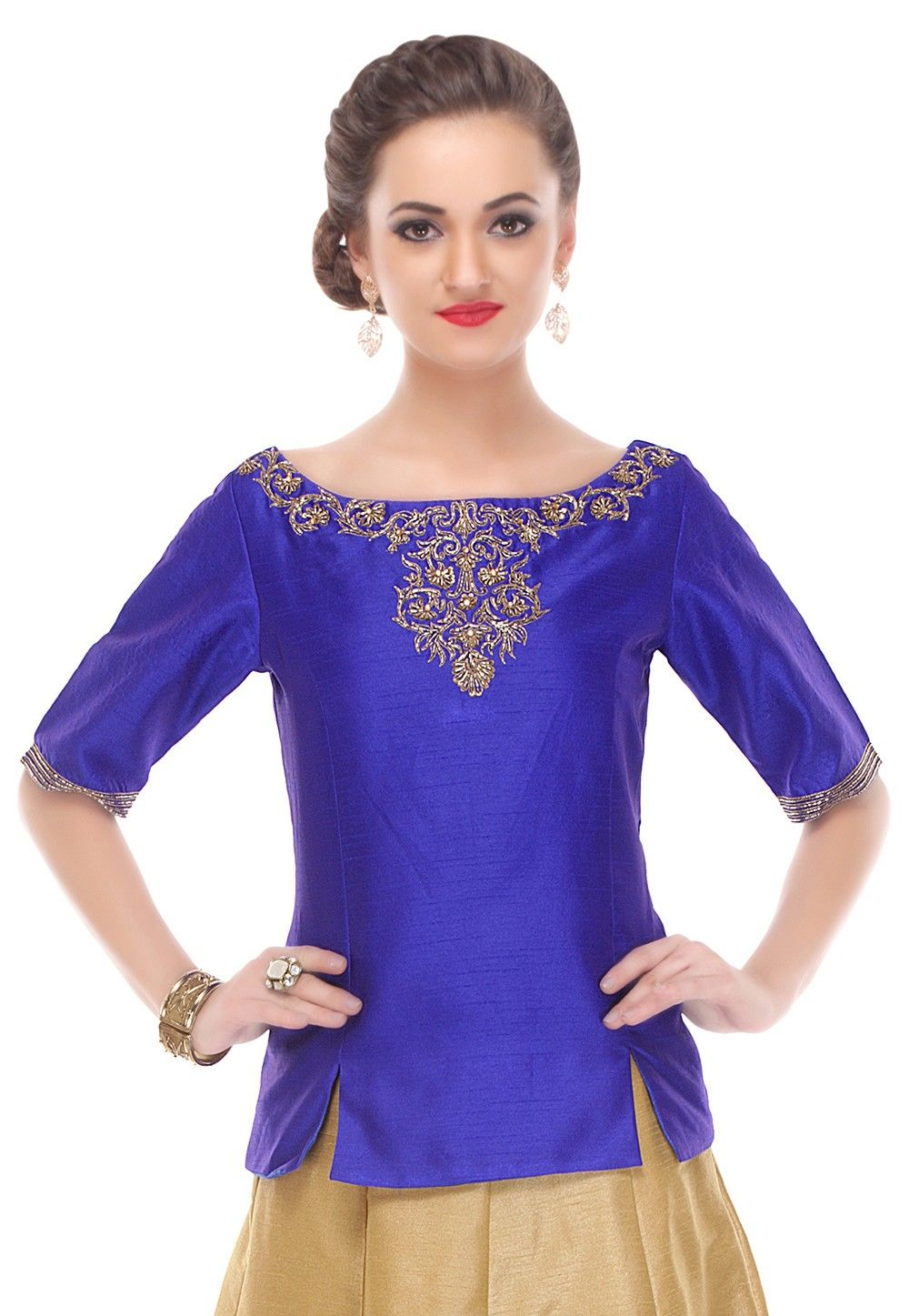 Embroidered Dupion Silk Top in Royal Blue