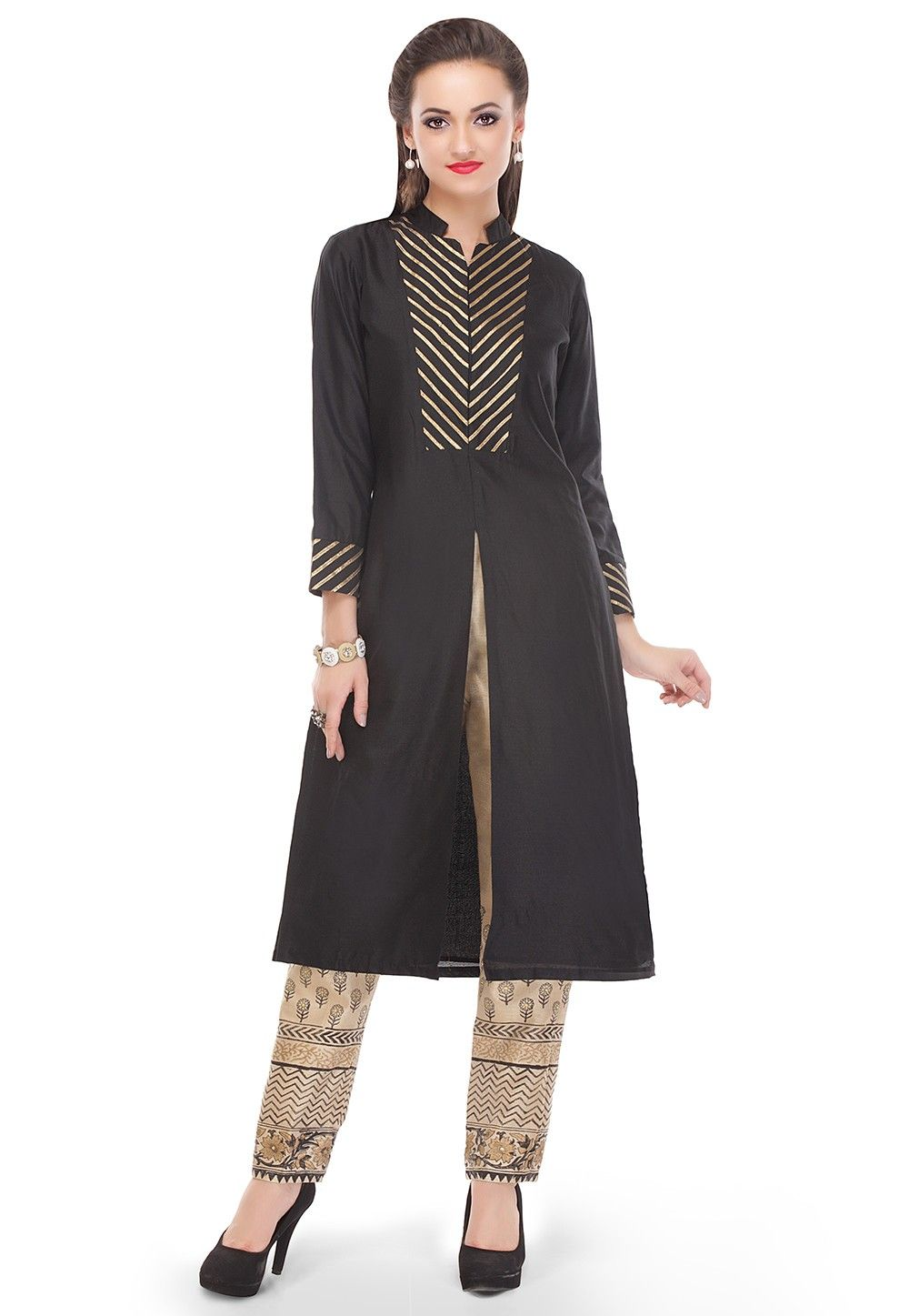 Gota Work Cotton Silk Long Kurta in Black