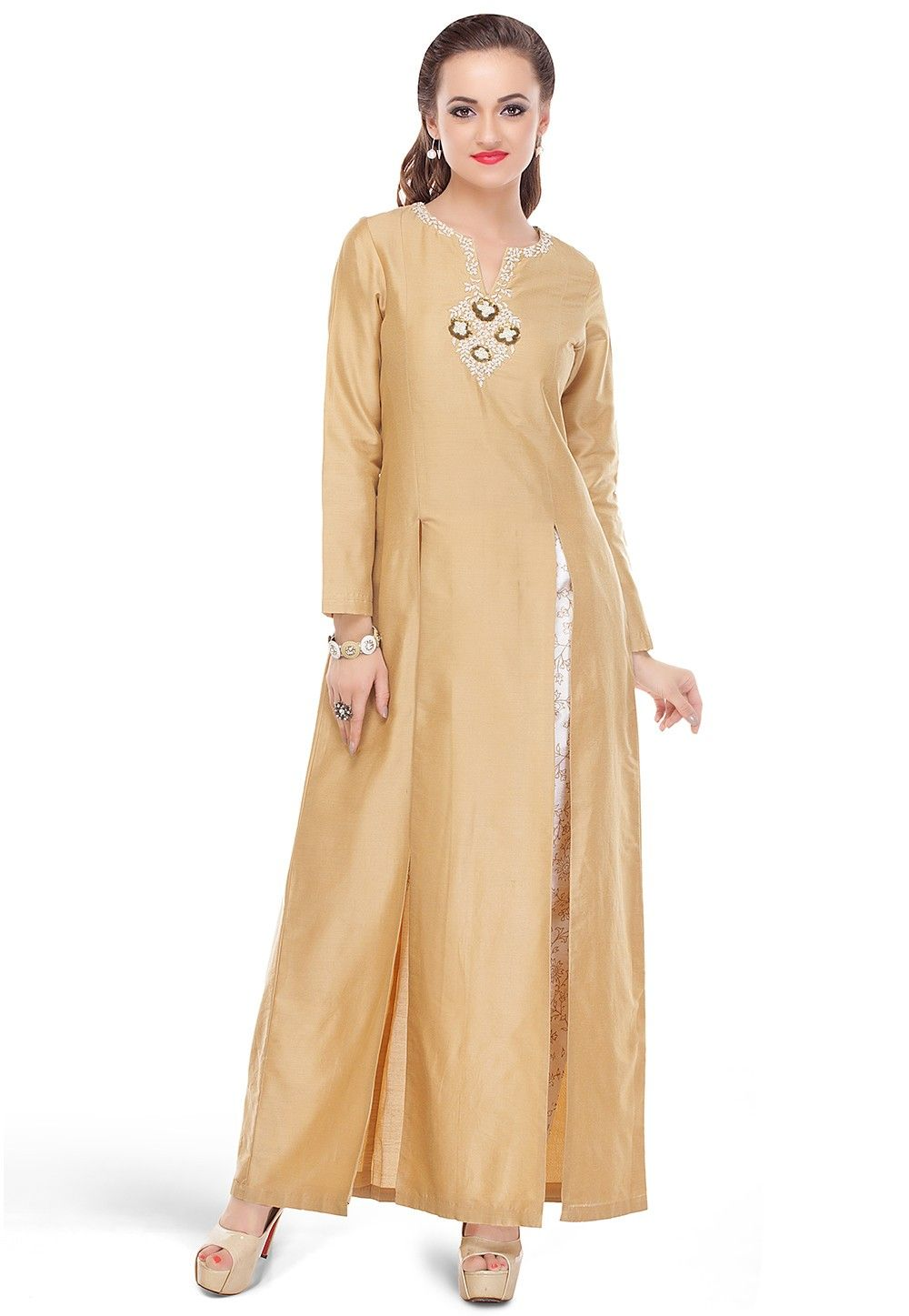 Embroidered Cotton Silk Long Kurta in Beige