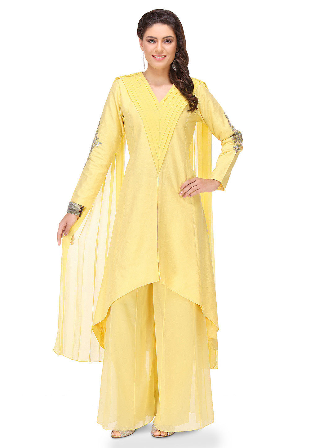 Embroidered Cotton Silk Asymmetric Long Kurta in Yellow