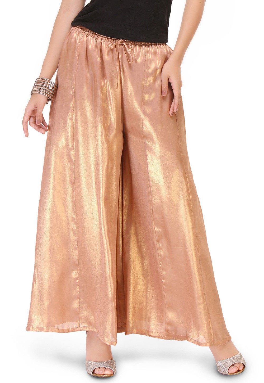 Plain Shimmer Georgette Palazzo in Rose Gold