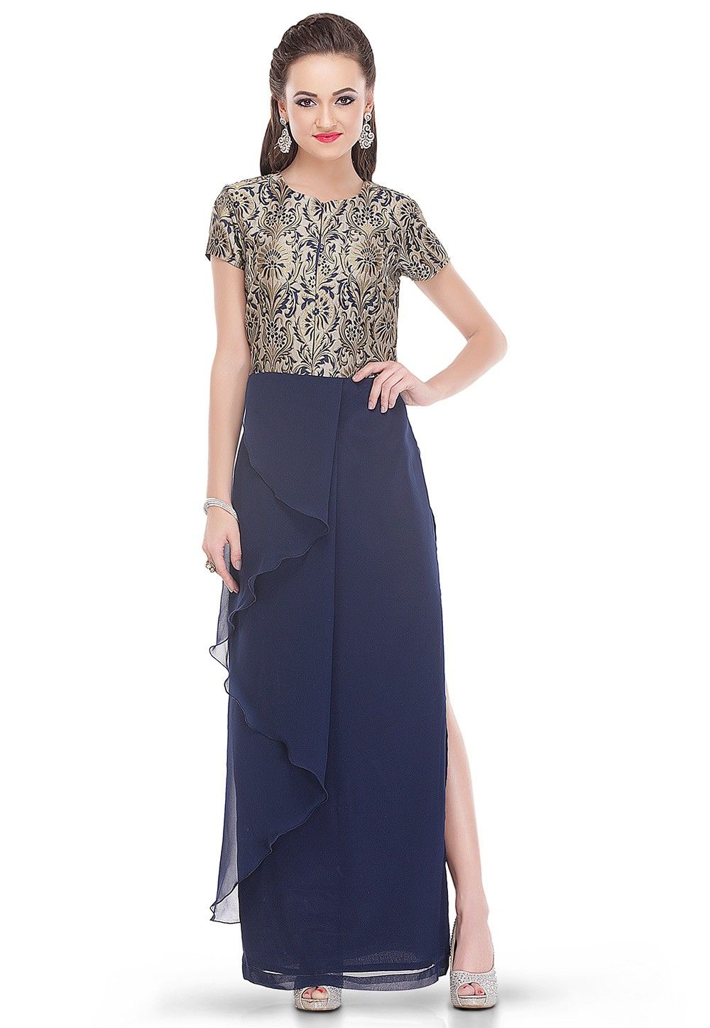 Flared Slit Brocade and Georgette Dress in Navy Blue