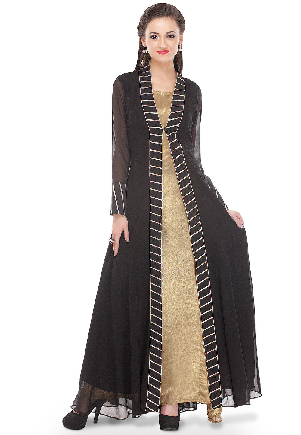 Jacket Style Georgette Shimmer Kurta Set in Black and Golden
