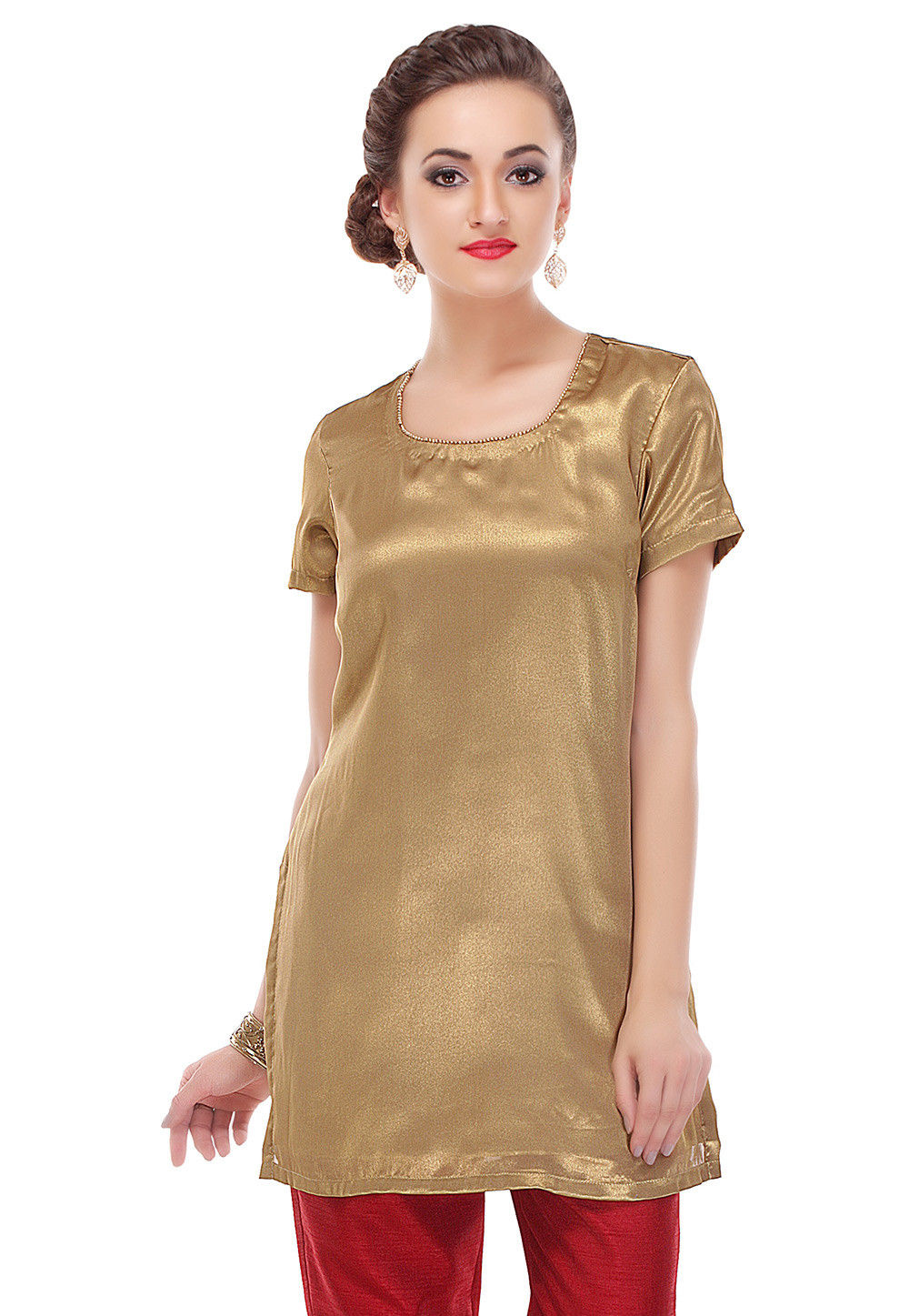 Plain Shimmer Georgette Tunic in Golden