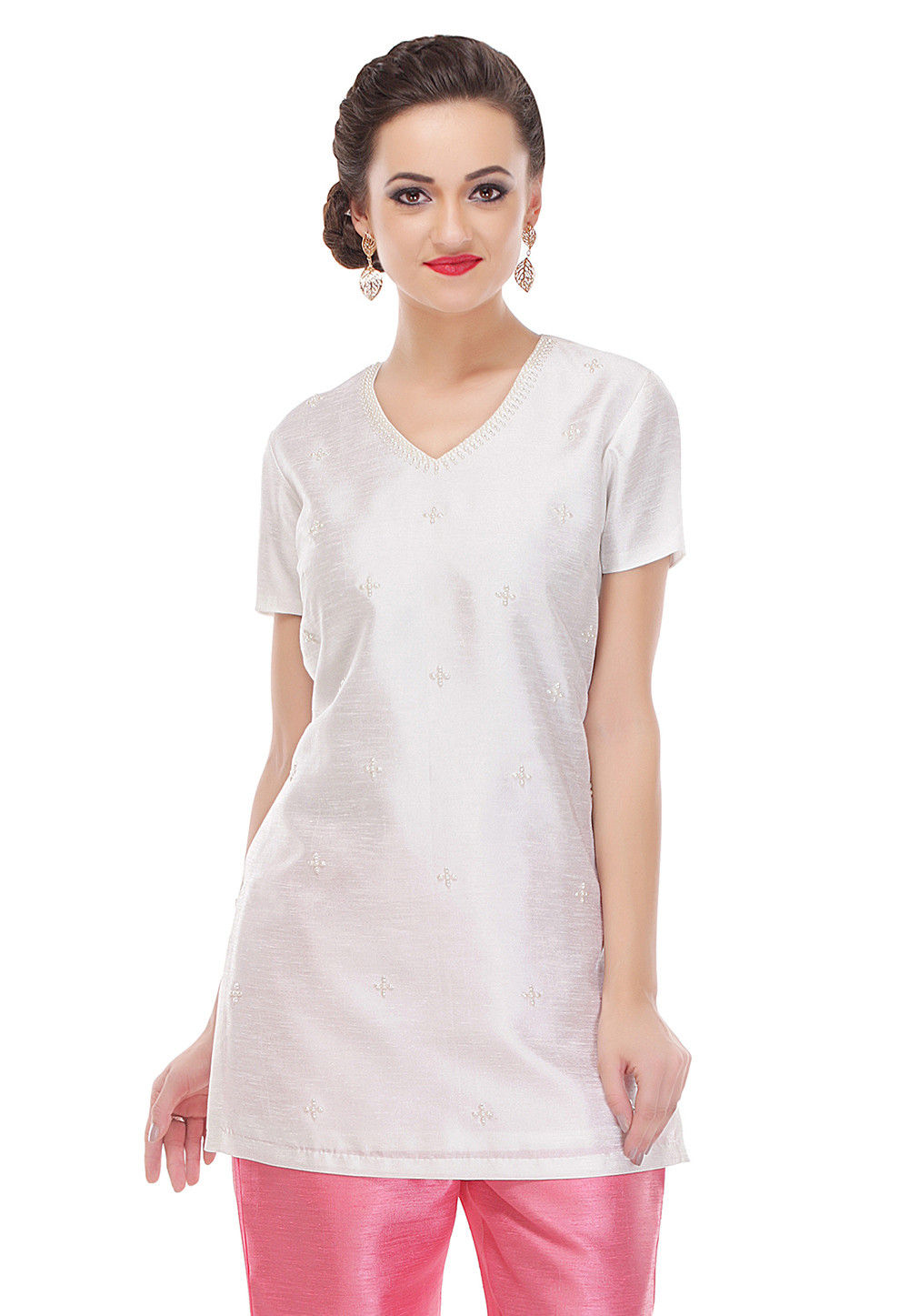 Embroidered Dupion Silk Kurti in Off White