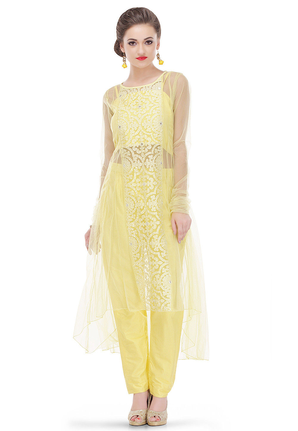 Embroidered Net Long Kurta in Yellow