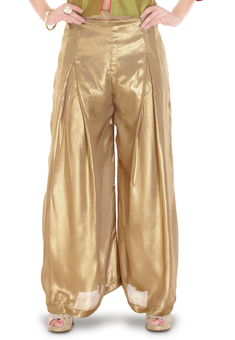 Plain Georgette Shimmer Palazzo in Golden