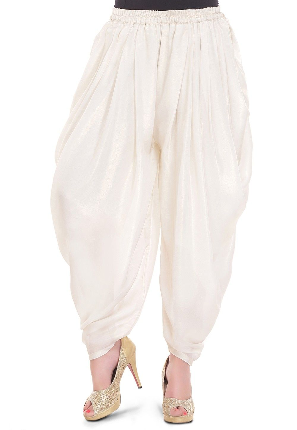 Plain Georgette Shimmer Elasticated Cowl Pant in Off White
