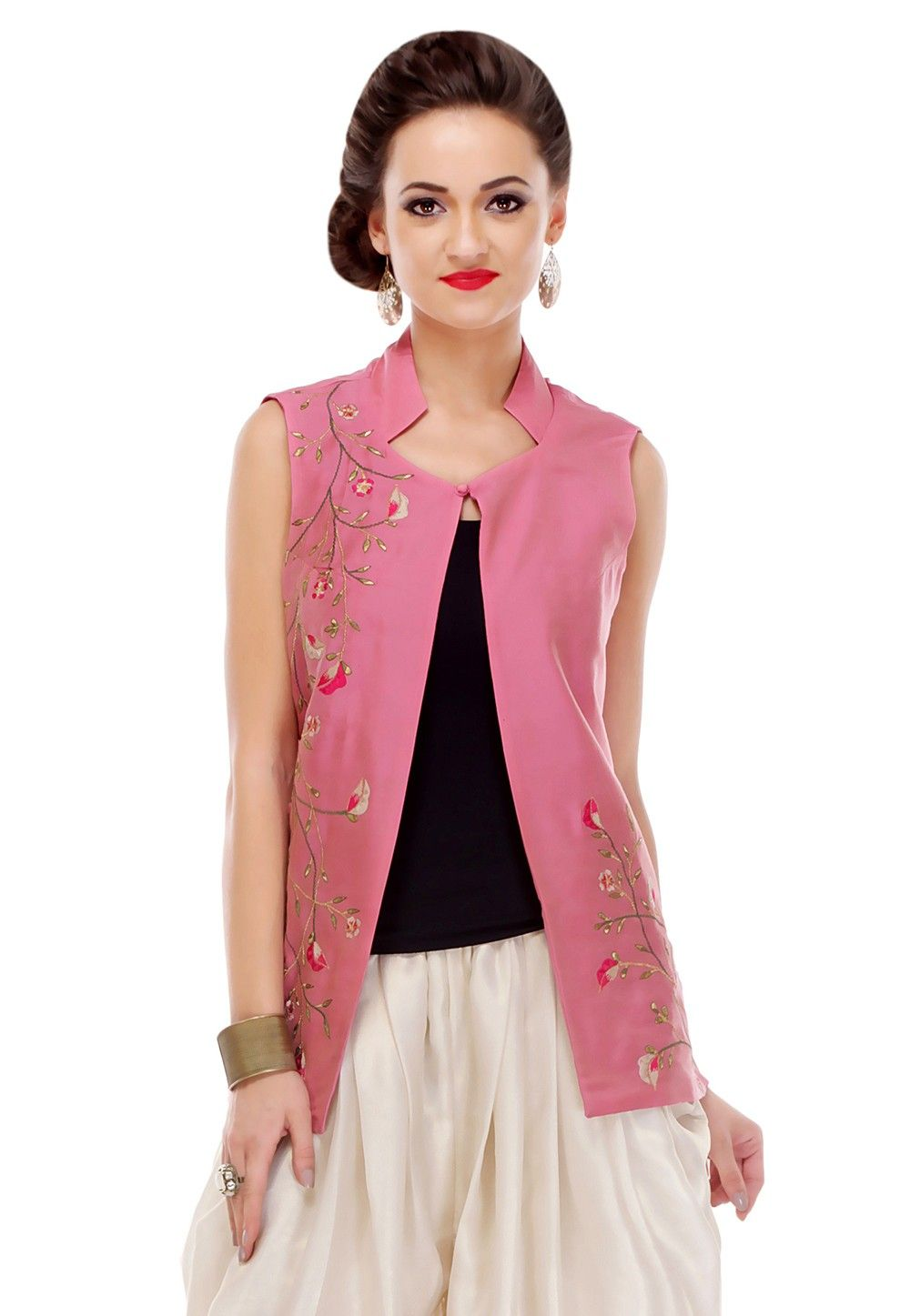 Embroidered Cotton Silk Jacket in Pink