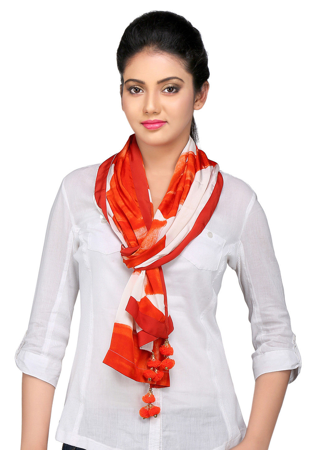 Digital Printed Crepe Stole in Off White and Orange