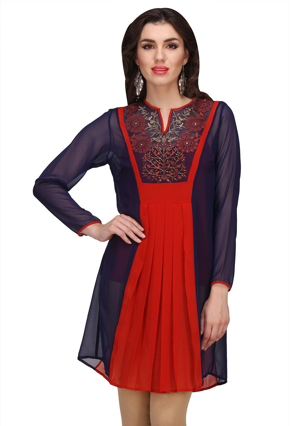 Embroidered Georgette Tunic in Rust and Navy Blue