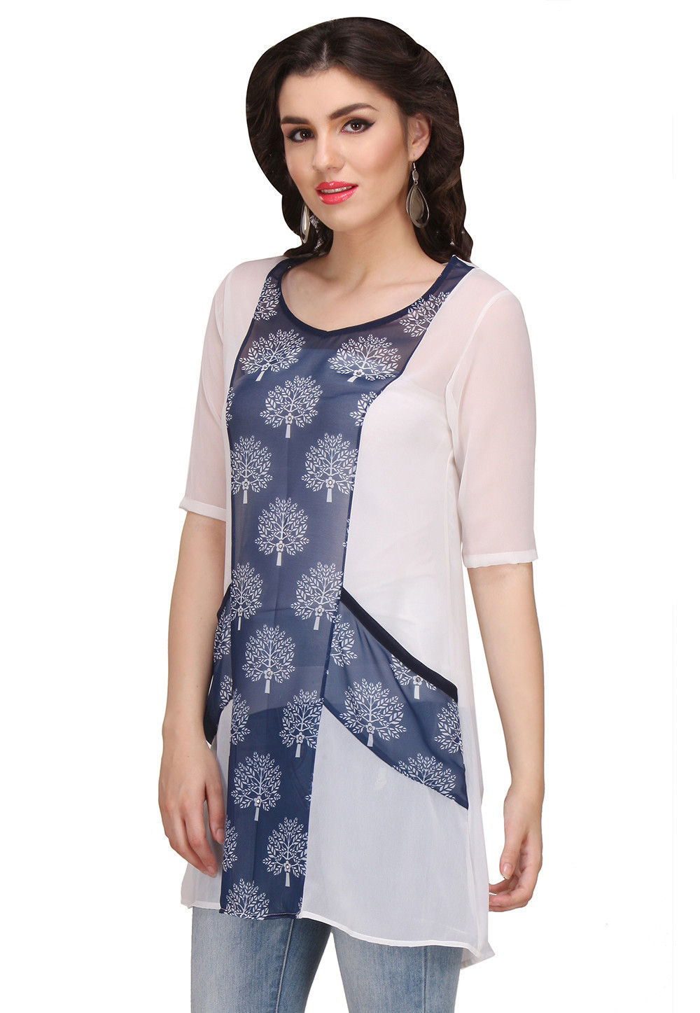 Printed Georgette Tunic in Blue and White