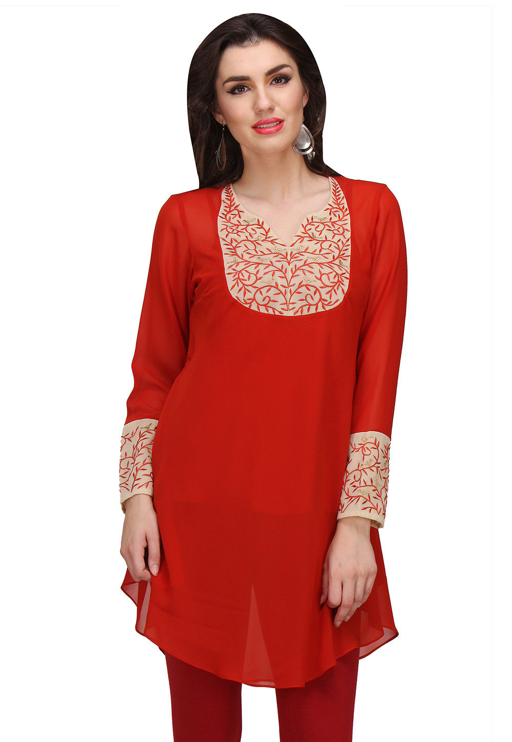 Embroidered Georgette Tunic in Red