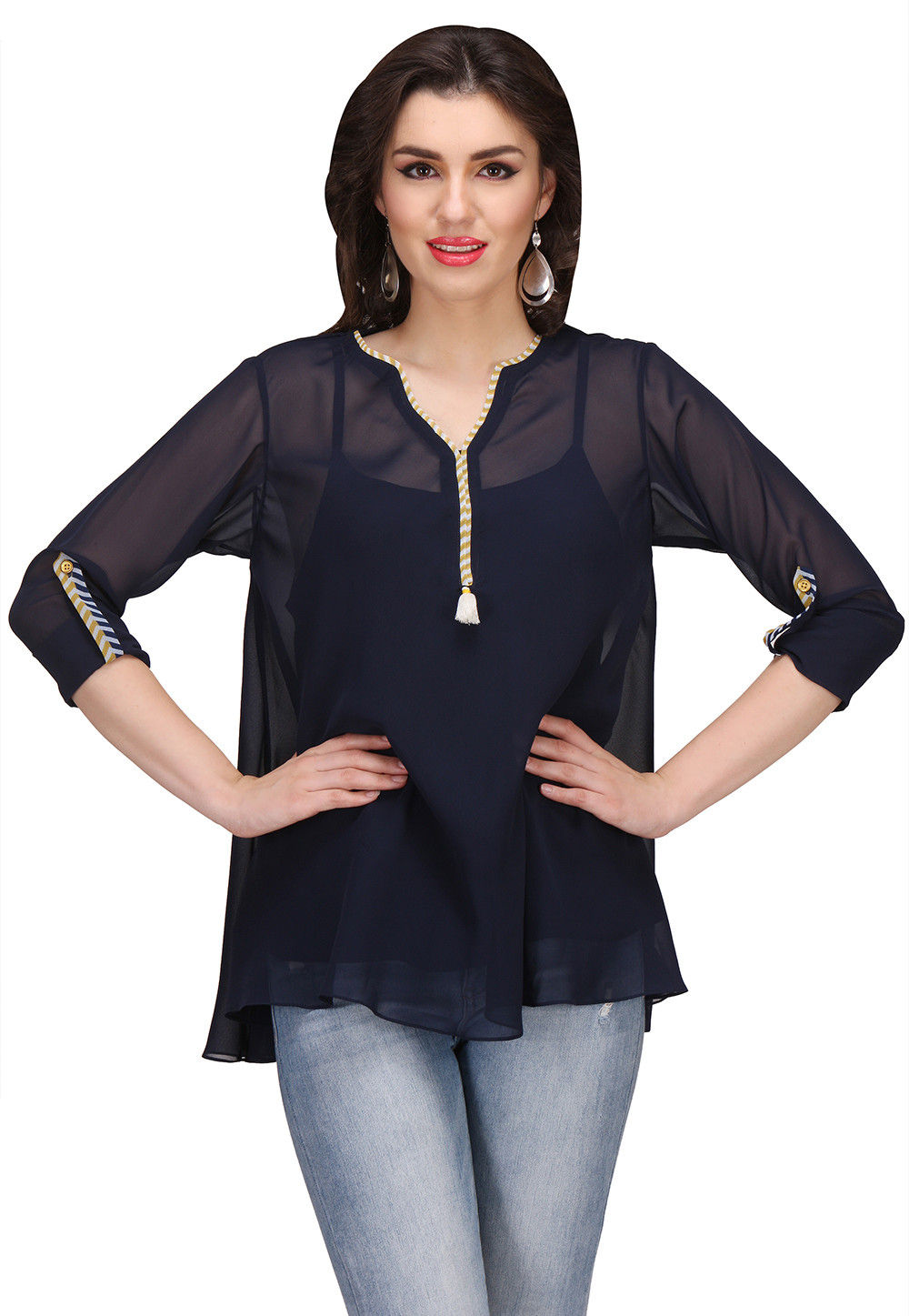 Plain Flared Viscose Top in Navy Blue