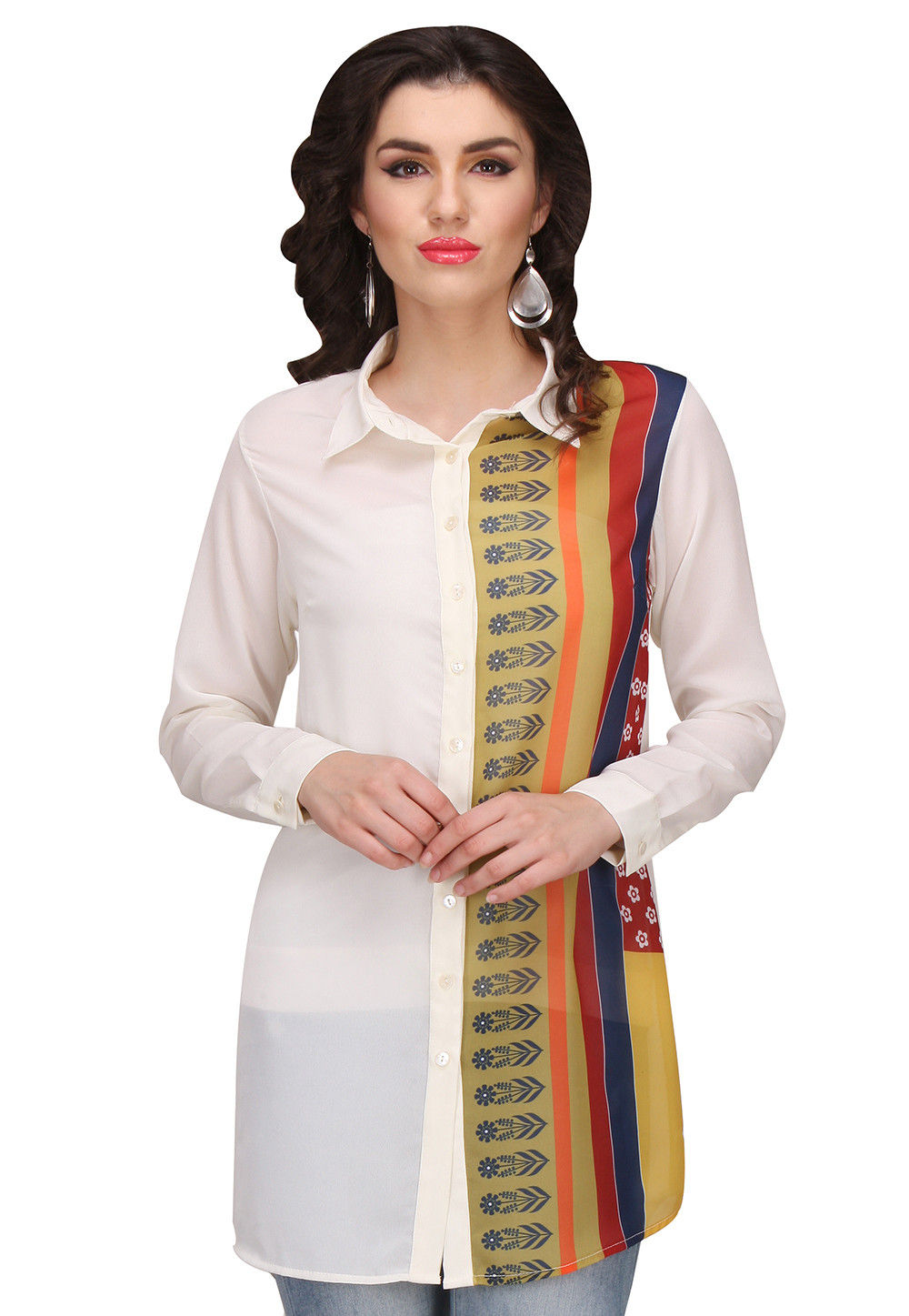 Digital Printed Georgette Top in Off White and Multicolor