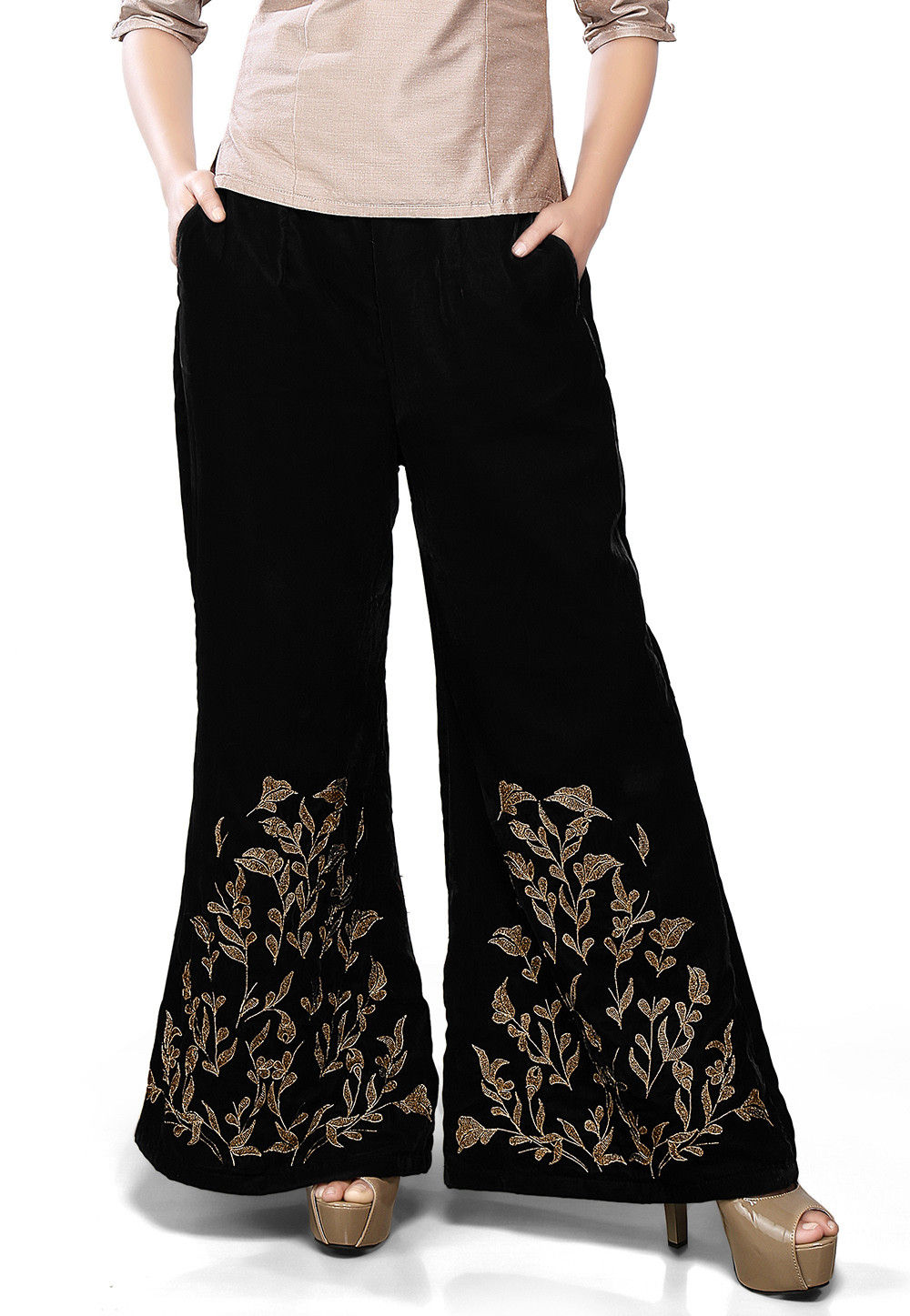 Embroidered Velvet Palazzo in Black