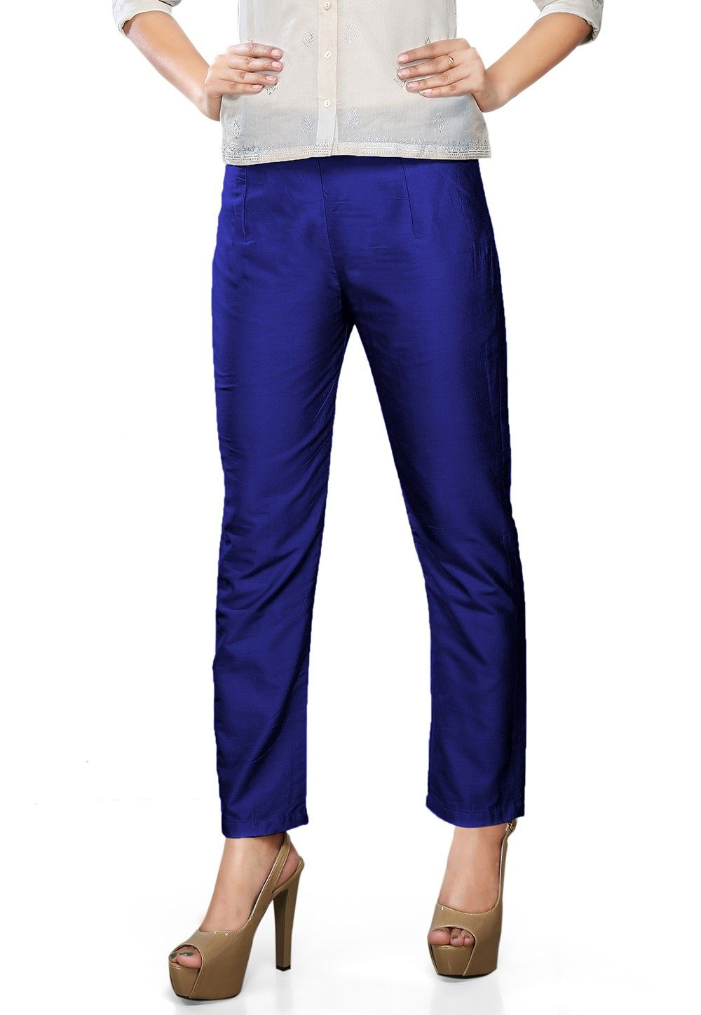Plain Art Silk Trouser in Royal Blue