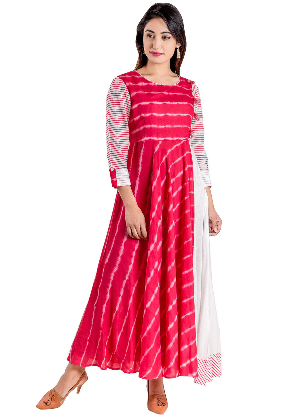 Tie N Dye Modal Satin Long Kurta in Fuchsia and white