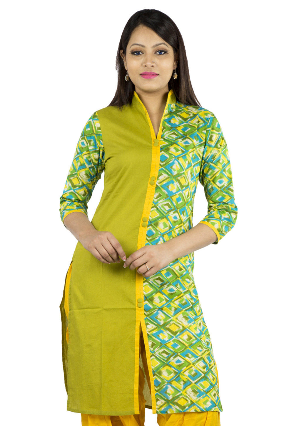 Printed Cotton Front Slit Kurta in Olive Green