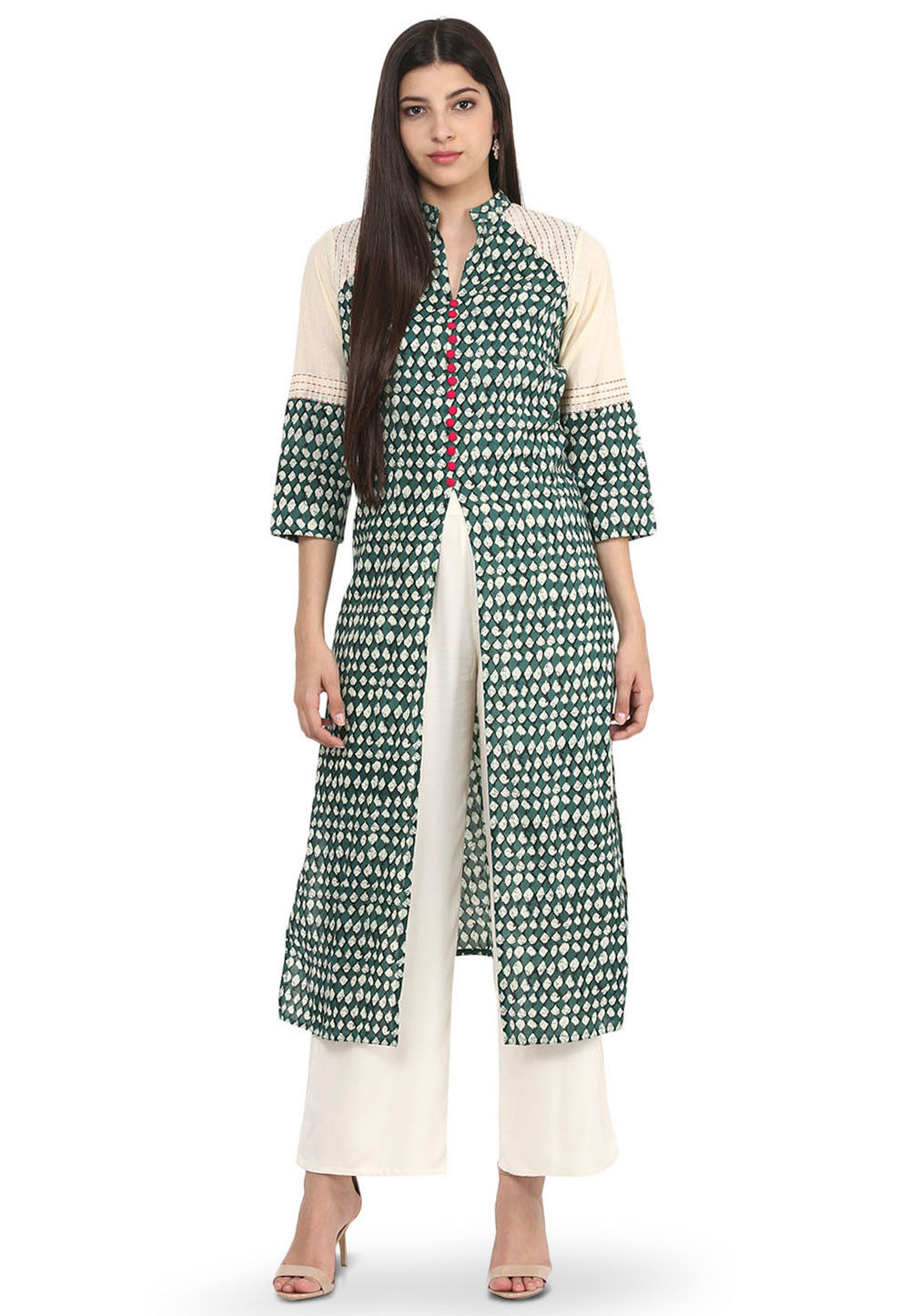 Printed Cotton Jacket Style Kurta in Off White and Teal Green