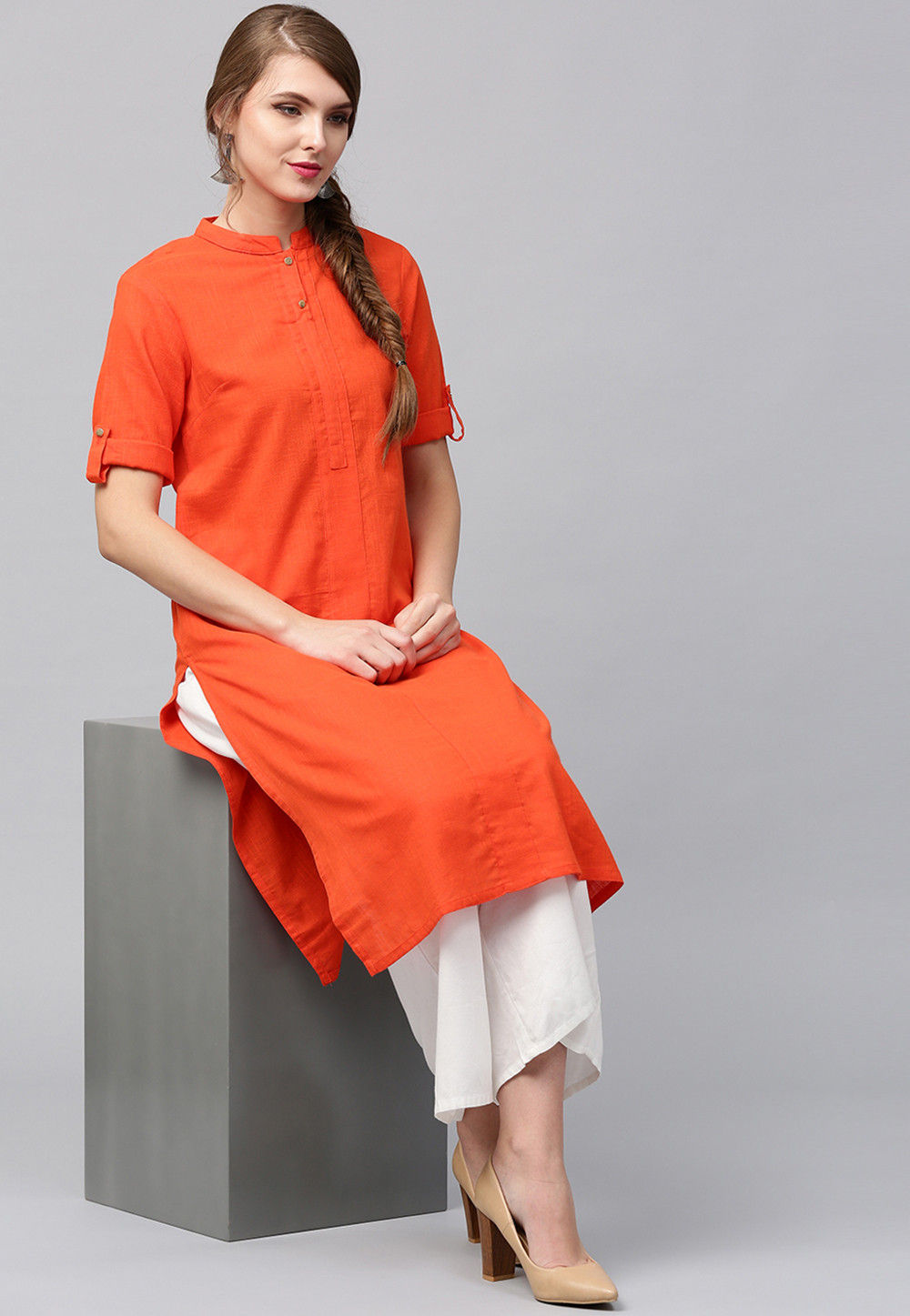 Plain Cotton Flex Kurta in Orange