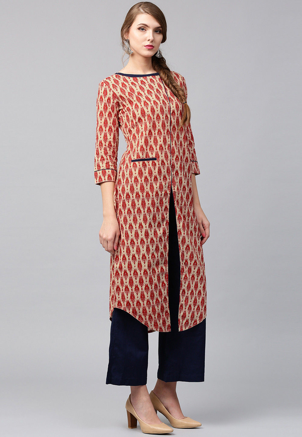 Printed Cotton Front Slit Kurta in Beige