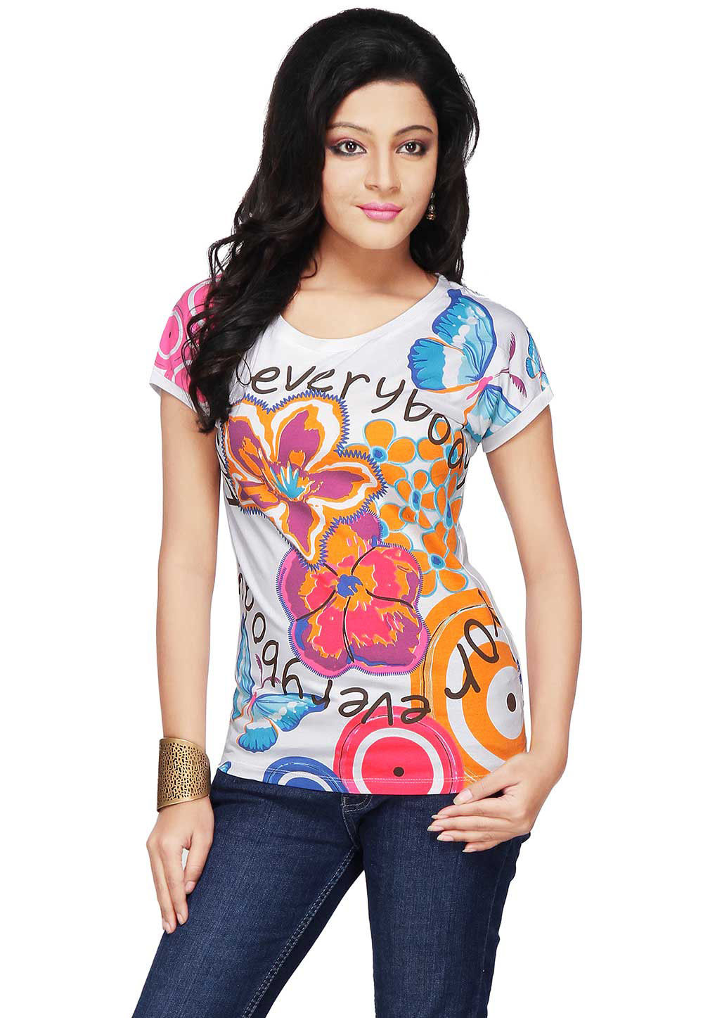 Printed Knitted Cotton Top in Multicolor