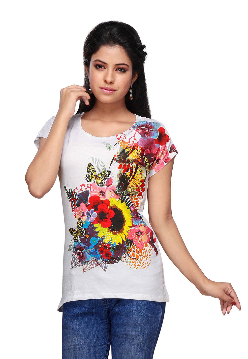 Printed Knitted Cotton Top in White