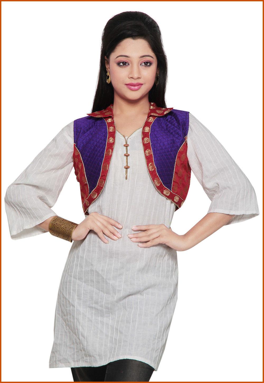 Chanderi Silk Short Jacket In Red and Purple