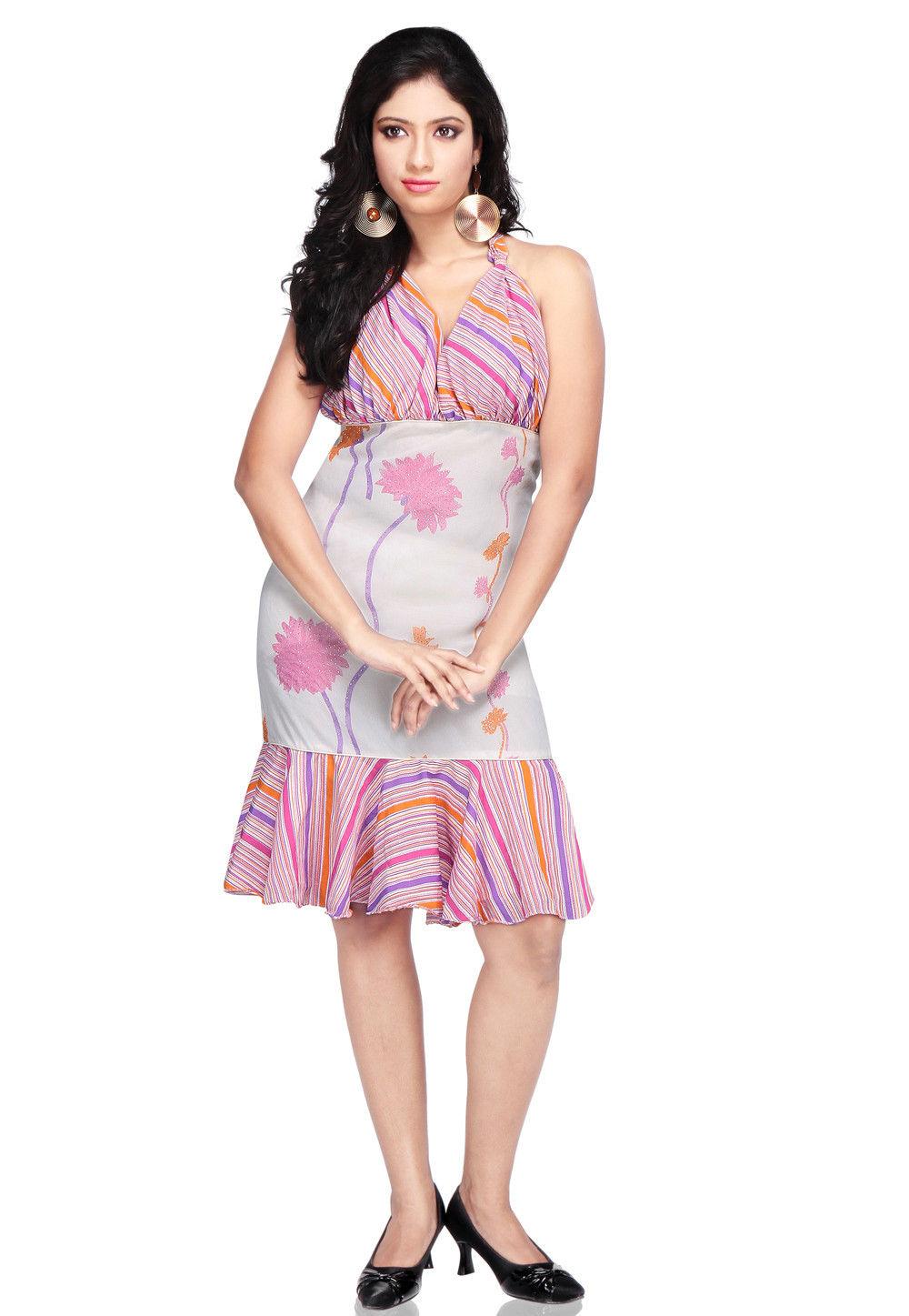 Printed Georgette Dress In Multicolor