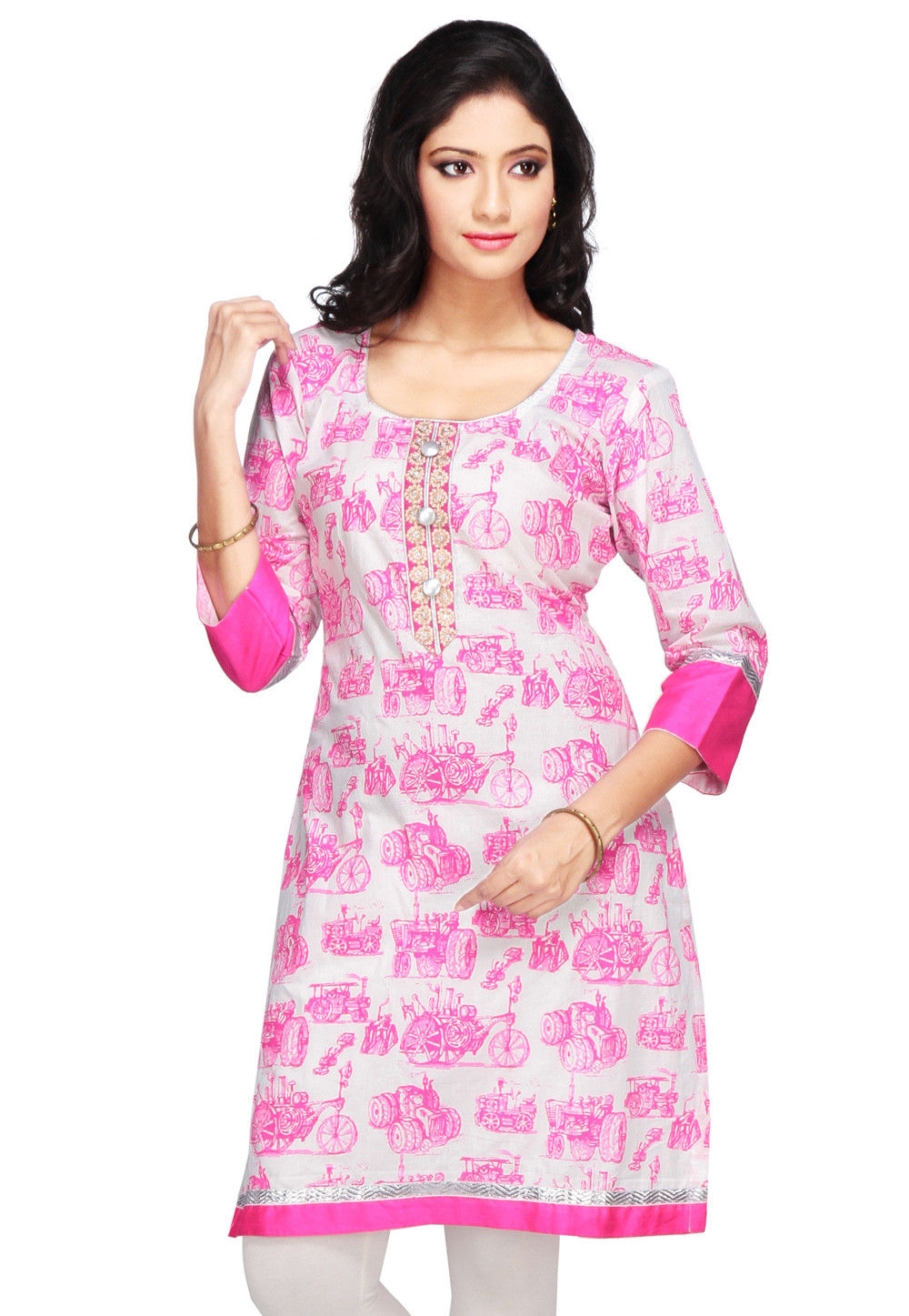 Printed Cotton Kurti in Off White and Fuchsia