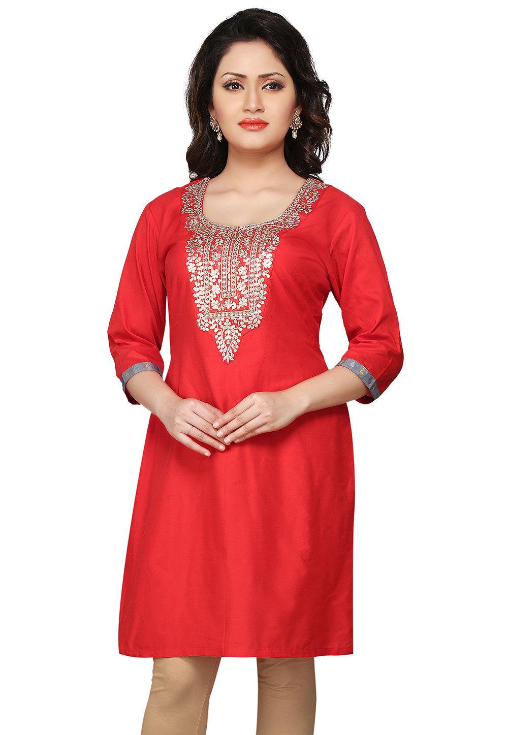 Embroidered Gotapatti Silk Kurti In Red