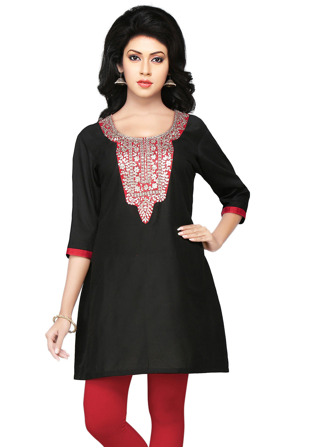 Embroidered Gotapatti Silk Kurti In Black